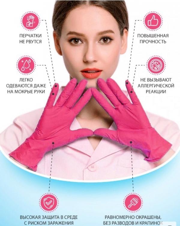 """Перчатки винило-нитриловые """"Wally PROFI"""" (розовые), размер M, 100 штук"""