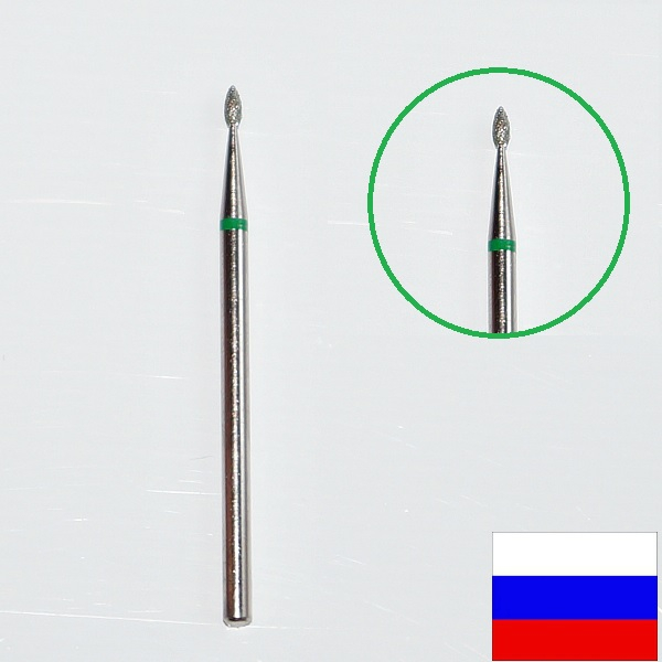 """Алмазная фреза """"ПОЧКА"""" (зеленая), d=1,4 мм"""