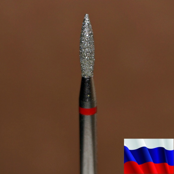 "Алмазная фреза ""ПЛАМЯ"" (красная), d=1,8 мм"