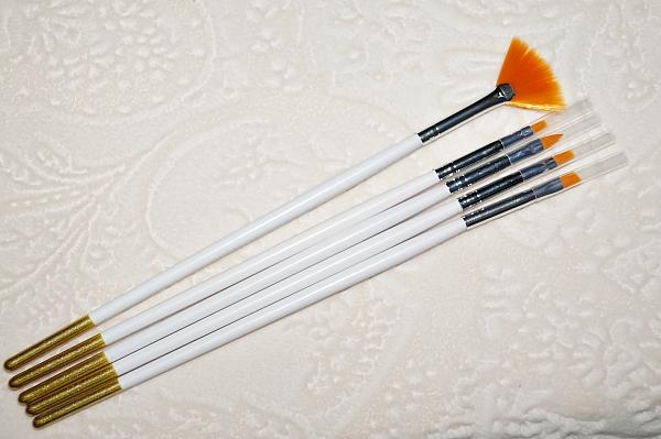 Кисти для дизайна маникюра + веер #5, 5 шт.