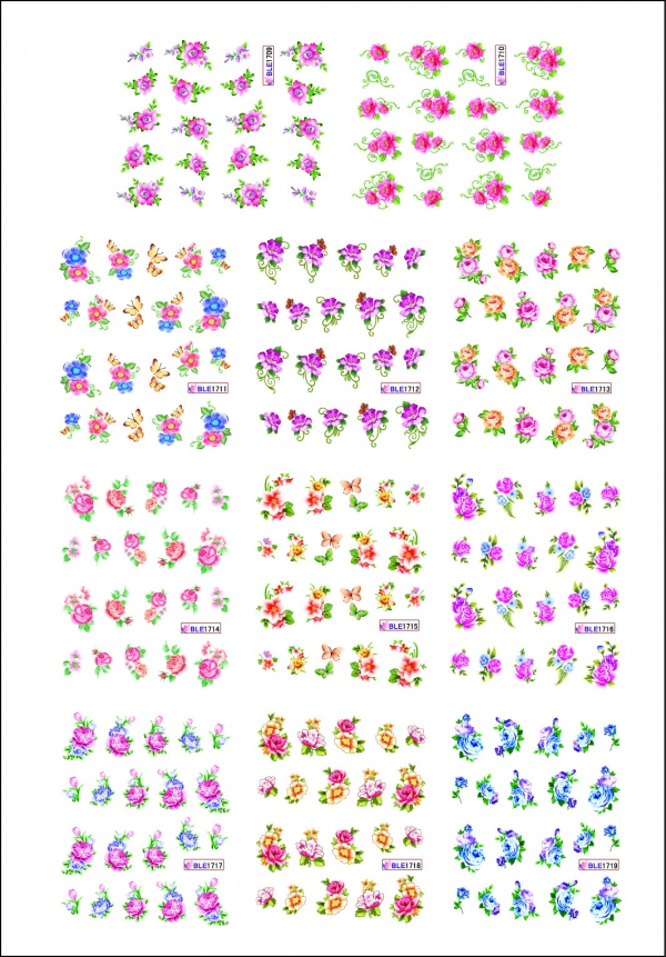 Наклейки цветные № BLE1709-1719, 11 штук на листе