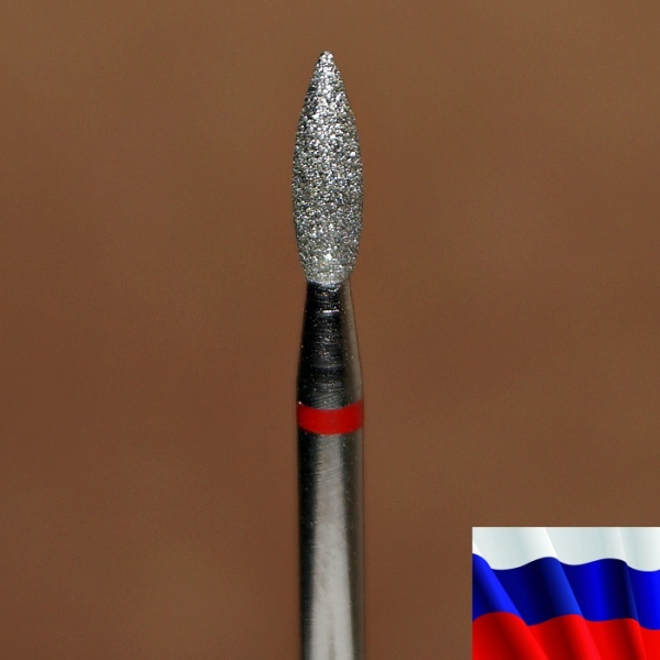 "Алмазная фреза ""ПЛАМЯ"" (красная), d=2,3 мм"