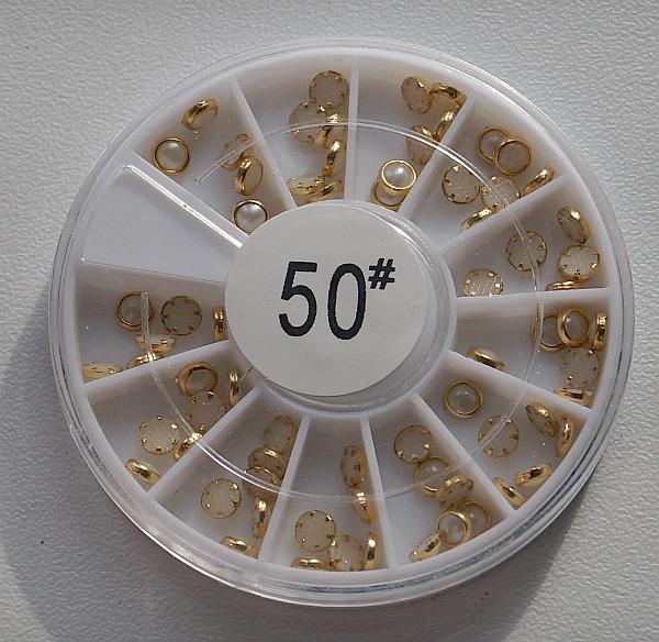 КАРУСЕЛЬ - зеркальный жемчуг (в золотом ободке), #50