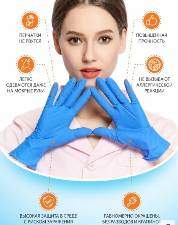 """Перчатки винило-нитриловые """"Wally PROFI"""" (голубые), размер M, 100 штук"""
