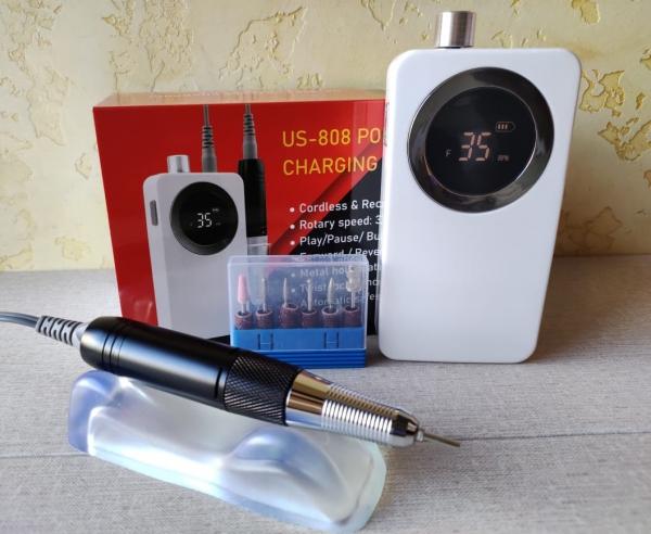 Машинка для маникюра и педикюра US-808 (белая), 35 тыс. об/мин