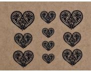 """Фотодизайн для ногтей """"Черные сердечки"""", s021"""