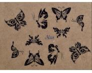 """Фотодизайн для ногтей """"Черные бабочки """", N115"""