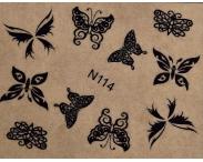 """Фотодизайн для ногтей """"Черные бабочки """", N114"""