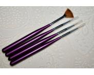 Кисти для дизайна ногтей + веер, 4 шт. (#3)
