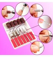 Набор для маникюра и коррекции ногтей, 6 насадок + 6 колпачков